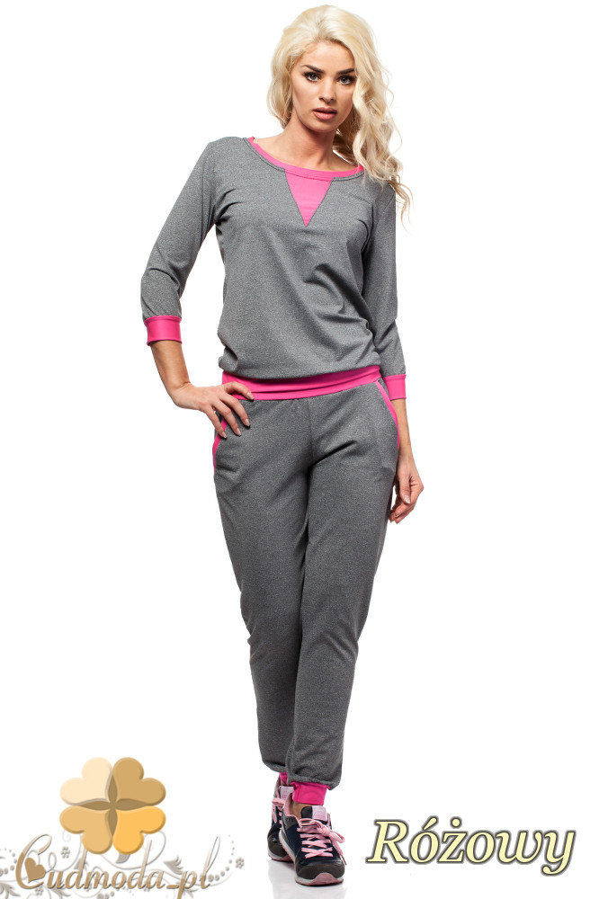 CM1576 Modna bluzka damska z kolorową wstawką - różowa