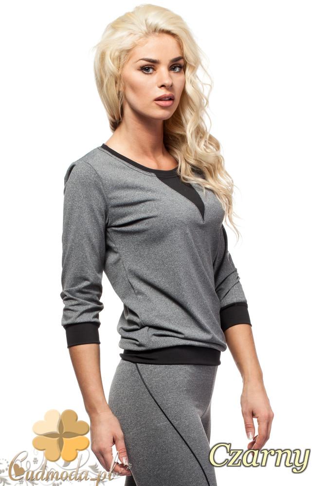 CM1576 Modna bluzka damska z kolorową wstawką - czarna