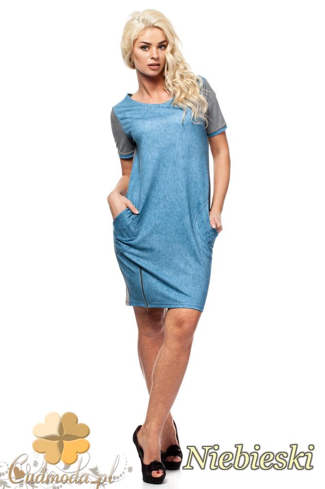 CM1580 Dwukolorowa sukienka mini z zamkiem - niebieska
