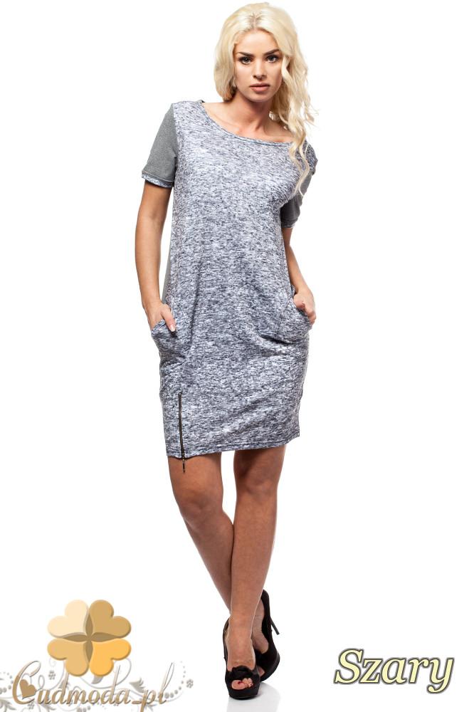 CM1580 Dwukolorowa sukienka mini z zamkiem - szara