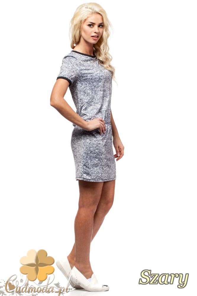 CM1582 Odcinana sukienka dopasowana mini - szara