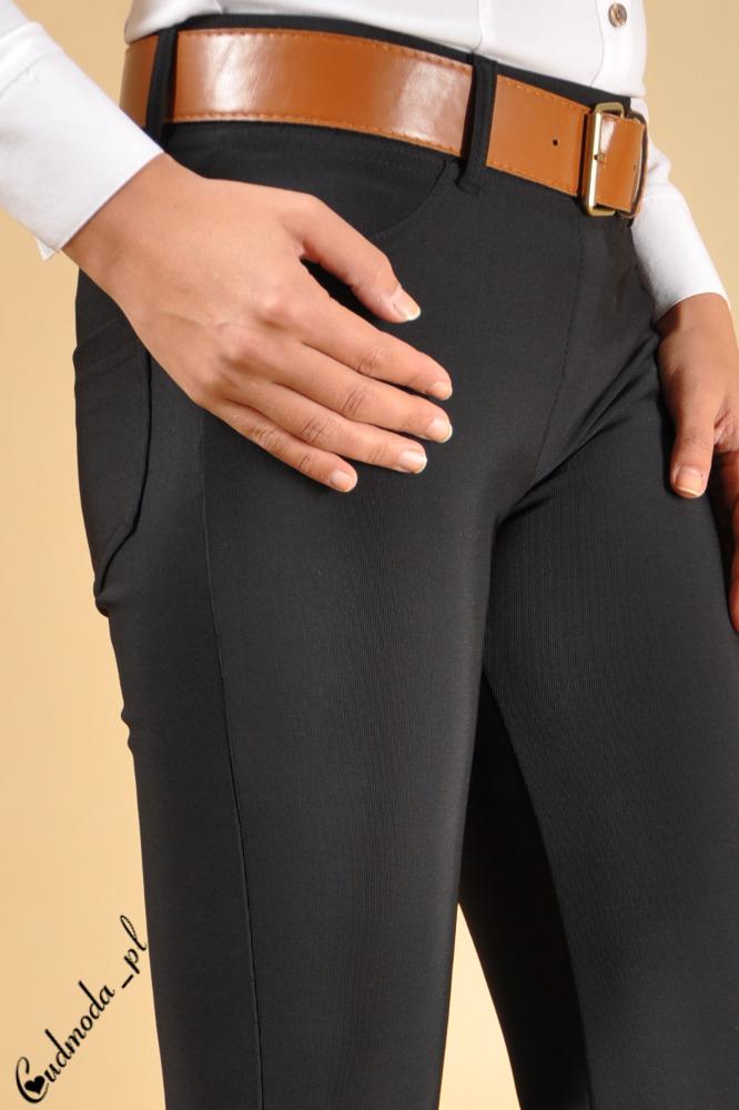WYCOFANY Włoskie legginsy - czarne lekko połyskujące