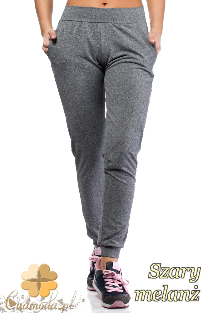 WYCOFANY Wyszczuplające dopasowane spodnie - szare