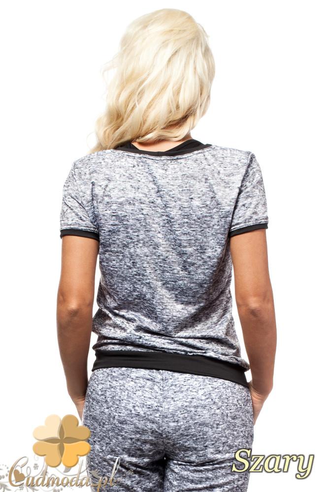 CM1571 Elegancka bluzka damska w modny wzór - szara