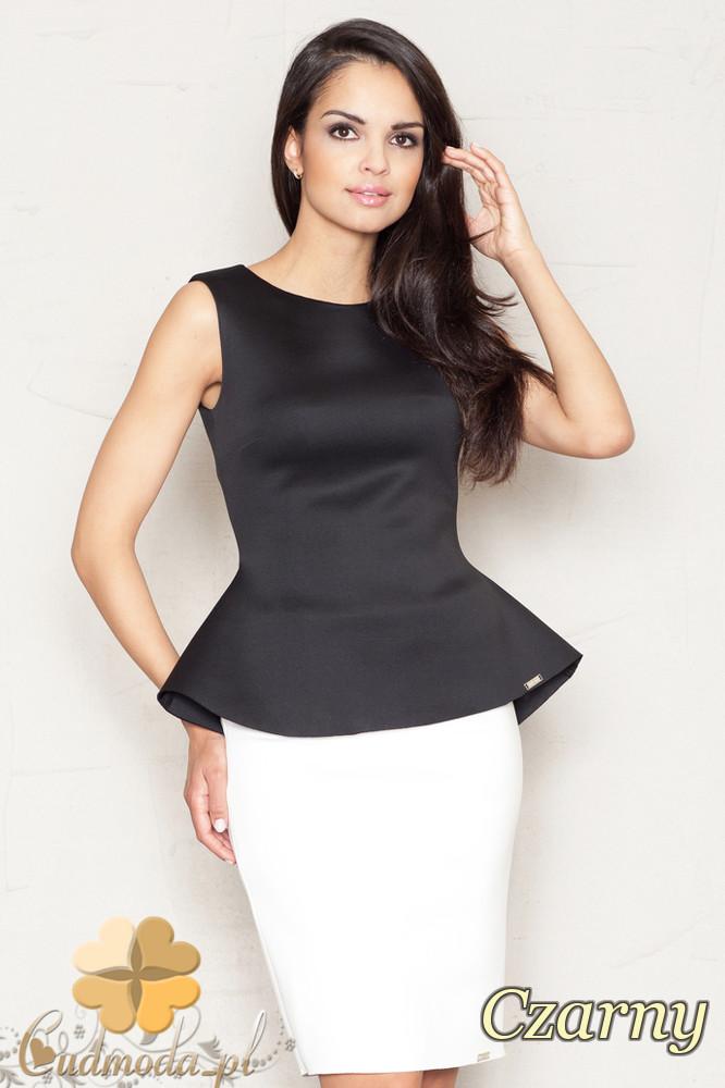 CM1520 Damska bluzka baskinka na ramiączkach - czarna