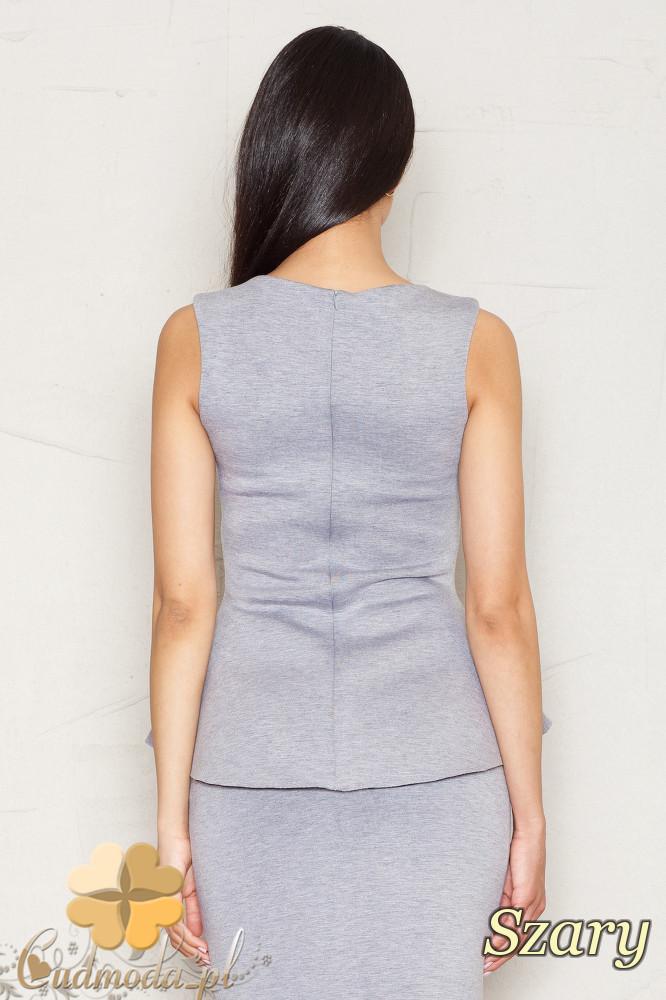 CM1520 Damska bluzka baskinka na ramiączkach - szara