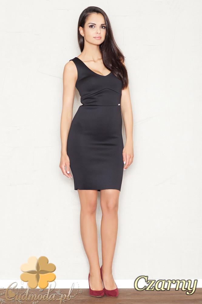 CM1521 Dopasowana sukienka mini bez rękawów - czarna