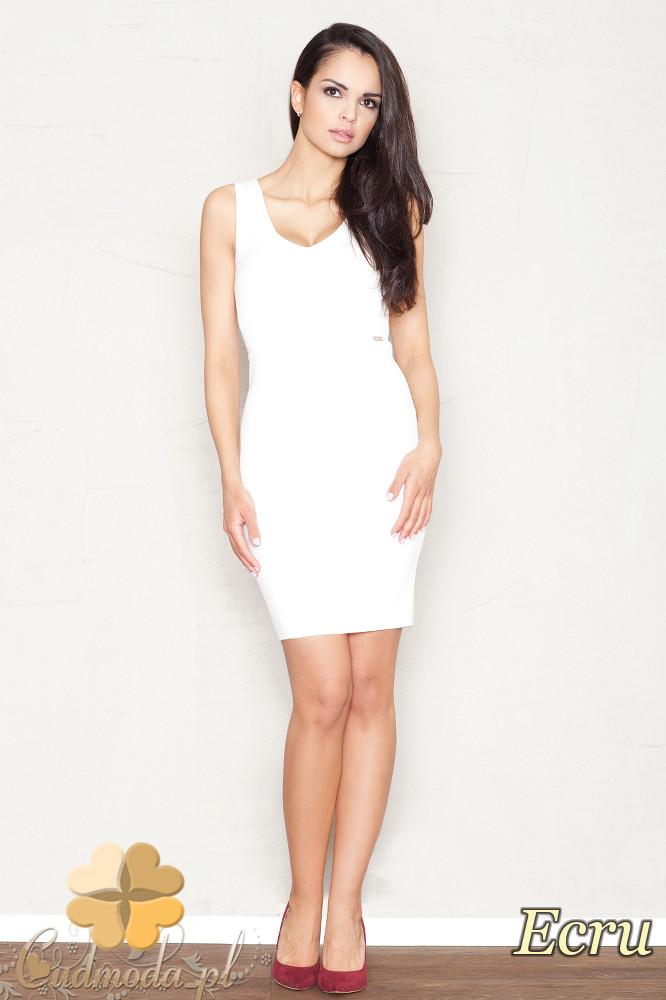 CM1521 Dopasowana sukienka mini bez rękawów - ecru