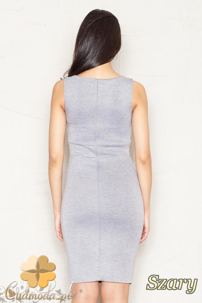 CM1521 Dopasowana sukienka mini bez rękawów - szara