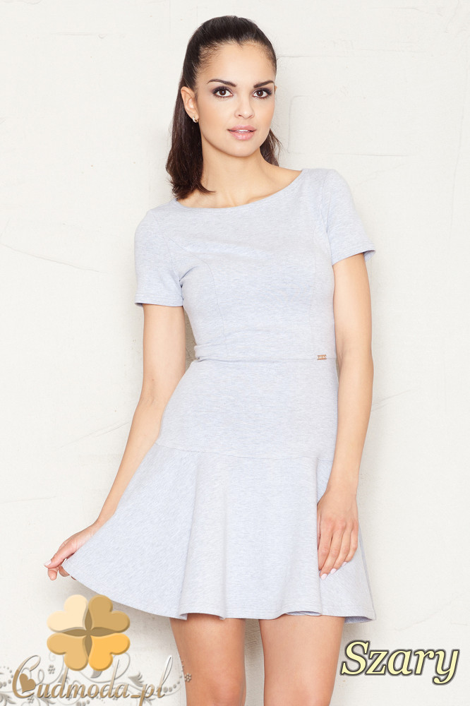 CM1524 Taliowana sukienka z lekko rozkloszowanym dołem - szara