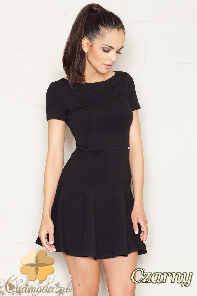 CM1524 Taliowana sukienka z lekko rozkloszowanym dołem - czarna