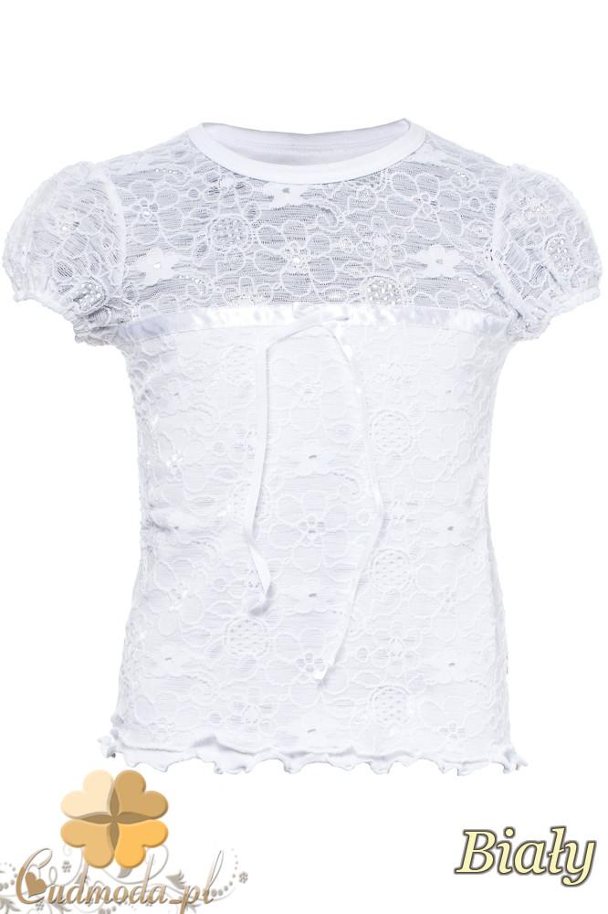 MA096 Bluzeczka damska z kokardką i koronką - biała
