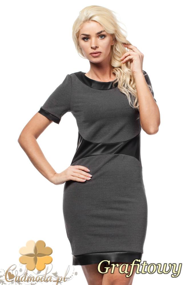 CM1602 Dopasowana sukienka biurowa przed kolano - grafitowa