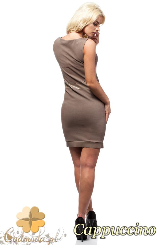 CM1603 Dopasowana sukienka ze skórzanymi wstawkami bez rękawów - cappuccino