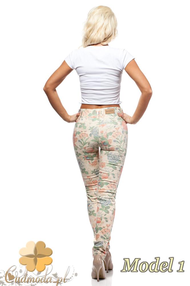 CM0235 Włoskie spodnie legginsy w kwiaty - model 1