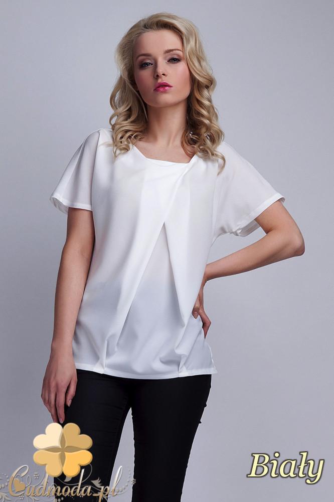 CM1531 Zwiewna bluzka damska z zakładką w kształcie litery A - biała