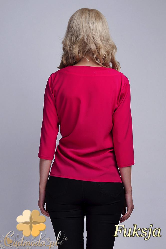 CM1532 Kopertowa bluzka damska z zakładką - fuksja