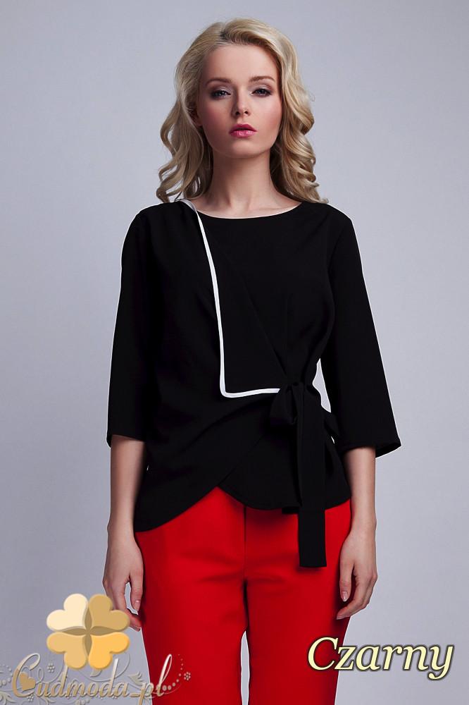 CM1532 Kopertowa bluzka damska z zakładką - czarna