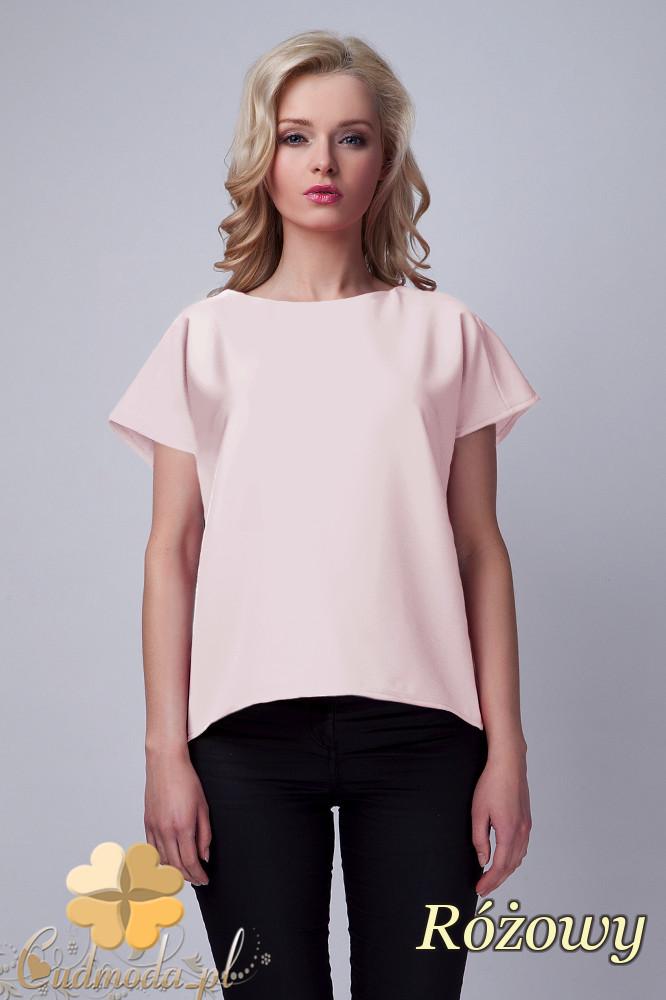 CM1533 Nowoczesna bluzka z rozcięciem na plecach - różowa