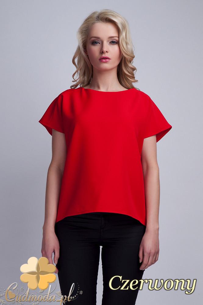 CM1533 Nowoczesna bluzka z rozcięciem na plecach - czerwona