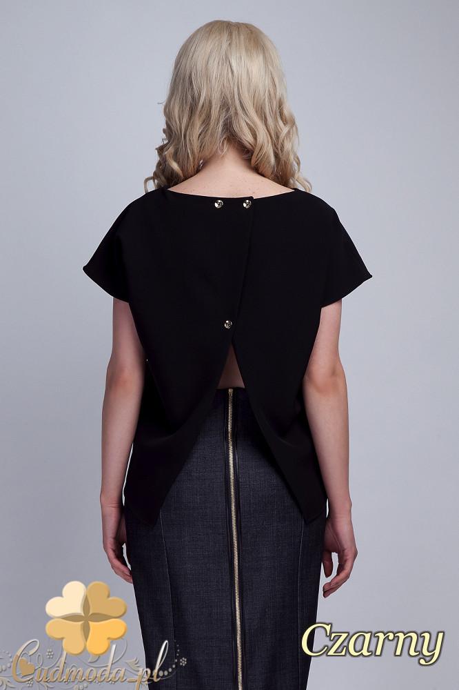 CM1533 Nowoczesna bluzka z rozcięciem na plecach - czarna