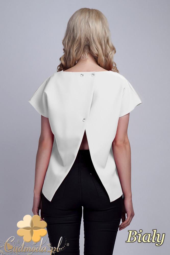CM1533 Nowoczesna bluzka z rozcięciem na plecach - biała