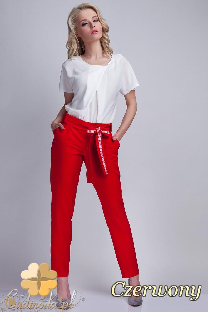 CM1536 Eleganckie spodnie z modną szarfą - czerwone