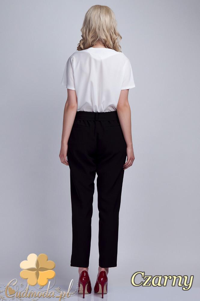 CM1536 Eleganckie spodnie z modną szarfą - czarne