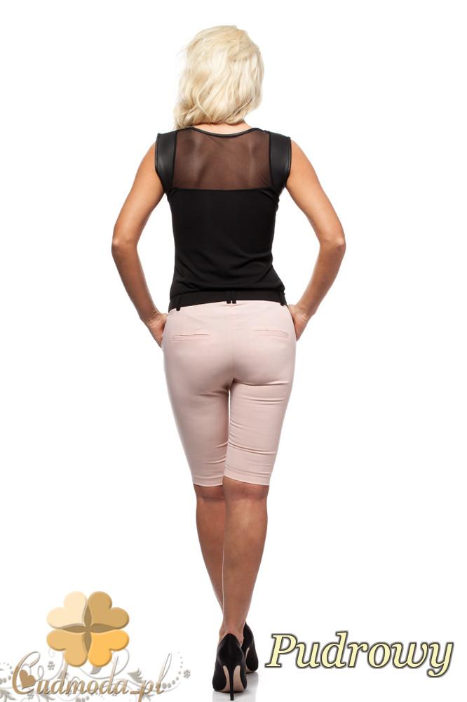CM1549 Dopasowane krótkie spodnie damskie - pudrowe