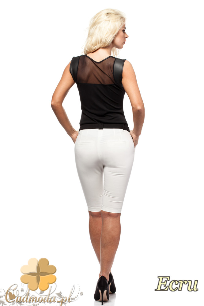 CM1549 Dopasowane krótkie spodnie damskie - ecru