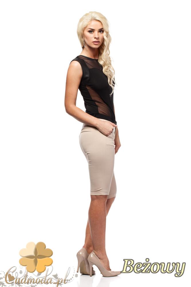 CM1549 Dopasowane krótkie spodnie damskie - beżowe