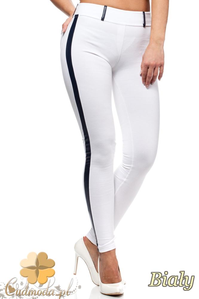 CM0159 Włoskie legginsy ze skórzaną wstawką na nogawce - białe