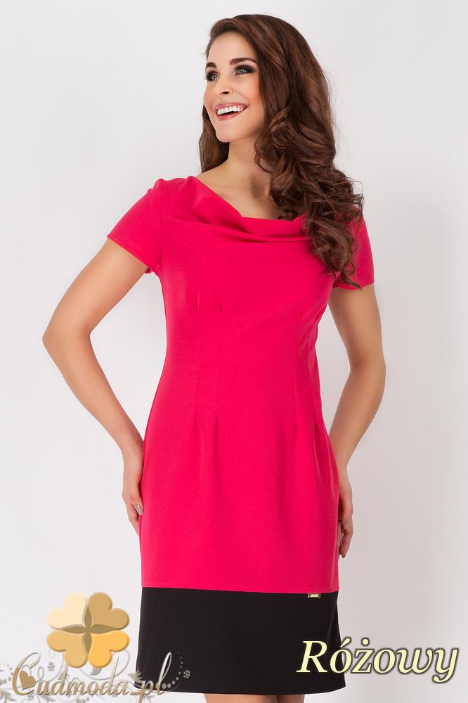 CM1538 Modna sukienka z krótkim rękawem w dwóch kolorach - różowa