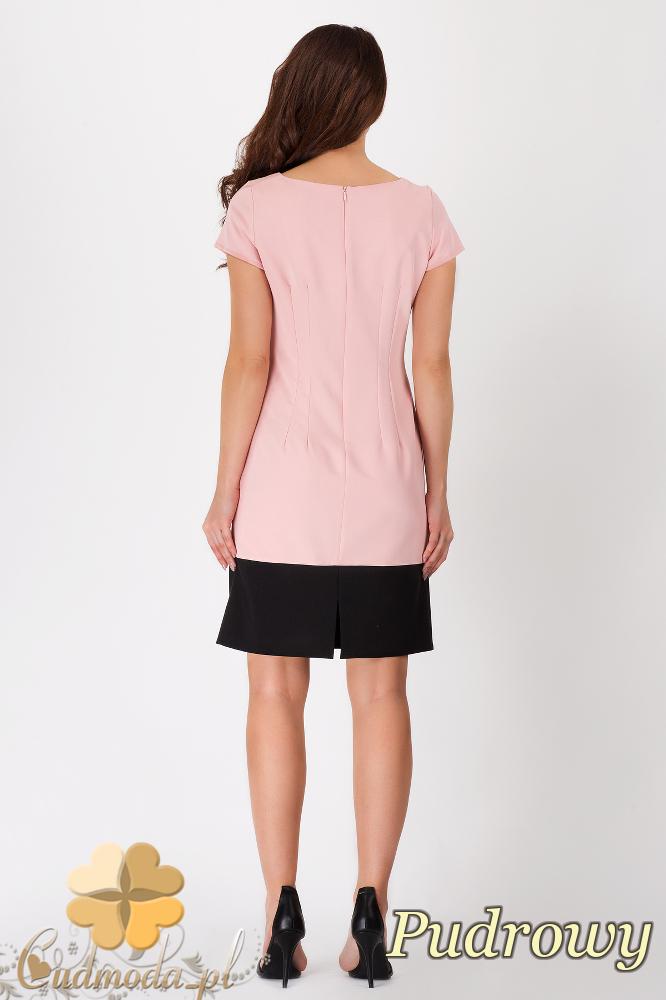CM1538 Modna sukienka z krótkim rękawem w dwóch kolorach - pudrowa