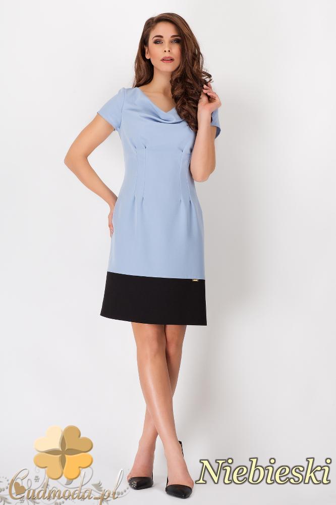 CM1538 Modna sukienka z krótkim rękawem w dwóch kolorach - niebieska