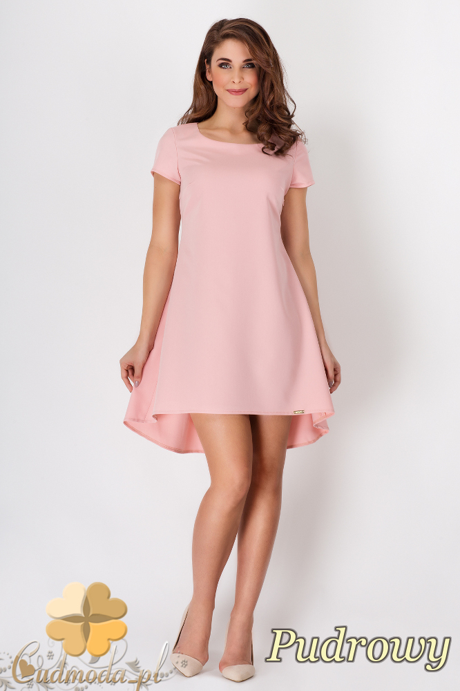 CM1540 Rozkloszowana sukienka na lato - różowa