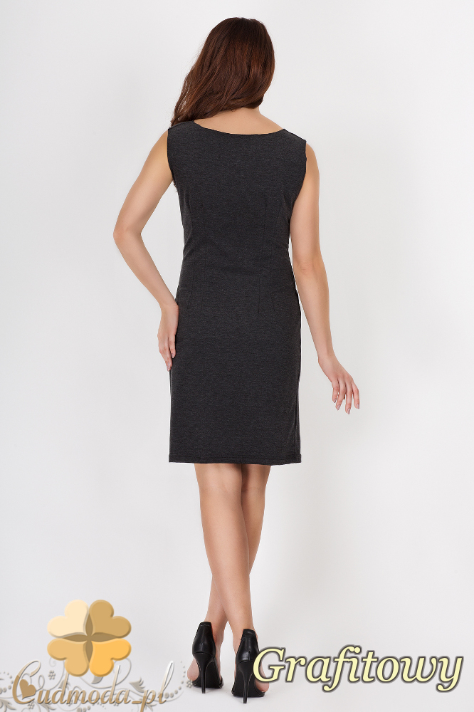 CM1541 Prosta sukienka midi z dekoltem typu woda - grafitowa