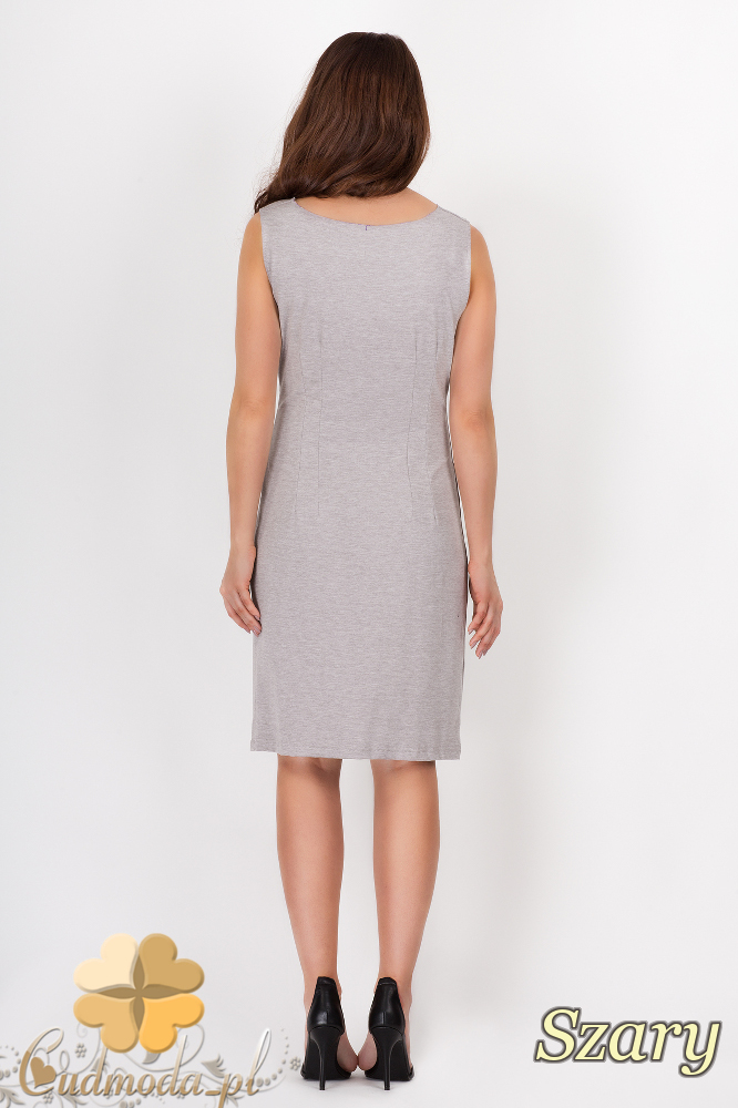 CM1541 Prosta sukienka midi z dekoltem typu woda - szara
