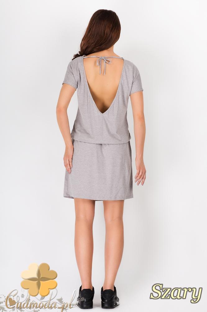 CM1544 Sportowa sukienka z dekoltem na plecach - szara