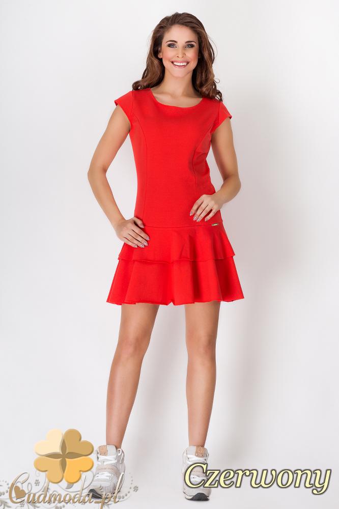 CM1545 Rozkloszowana sukienka z falbanką - czerwona