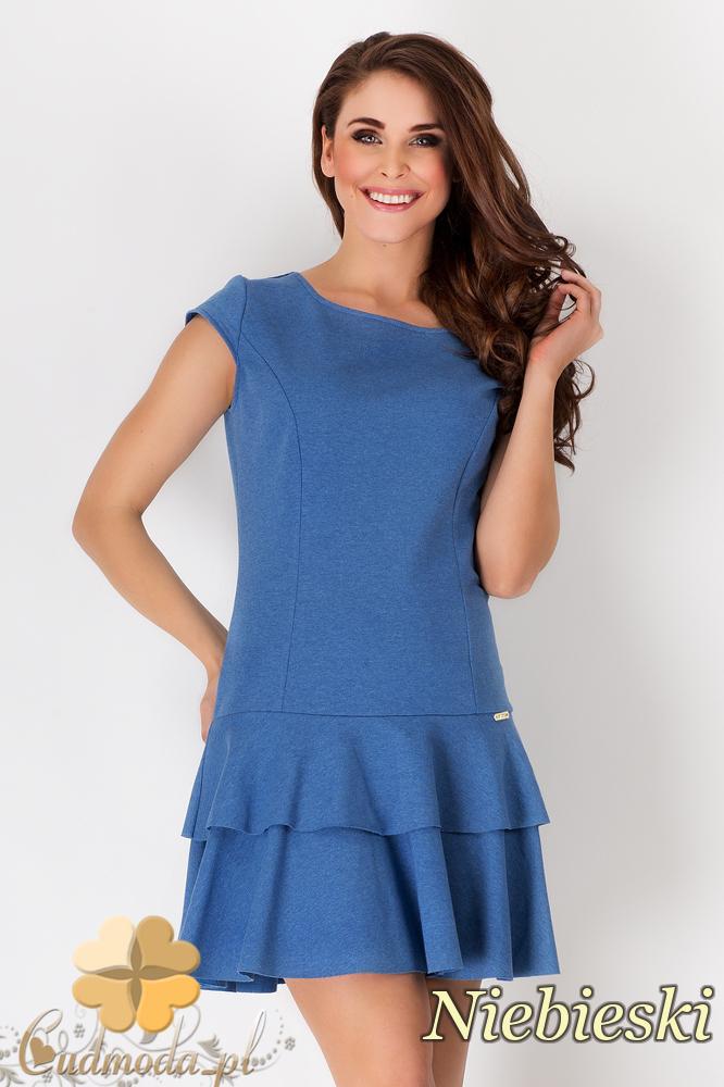 CM1545 Rozkloszowana sukienka z falbanką - niebieska