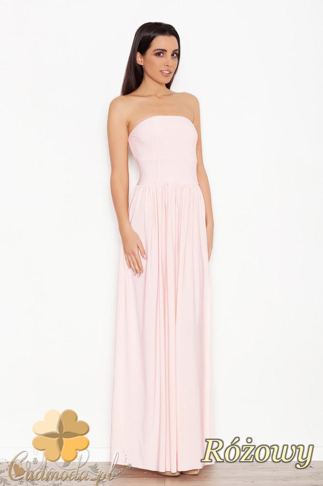 CM1546 Dopasowana sukienka maxi z marszczonym dołem - różowa