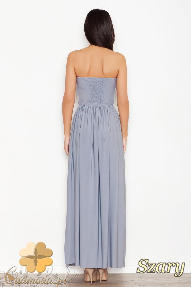 CM1546 Dopasowana sukienka maxi z marszczonym dołem - szara