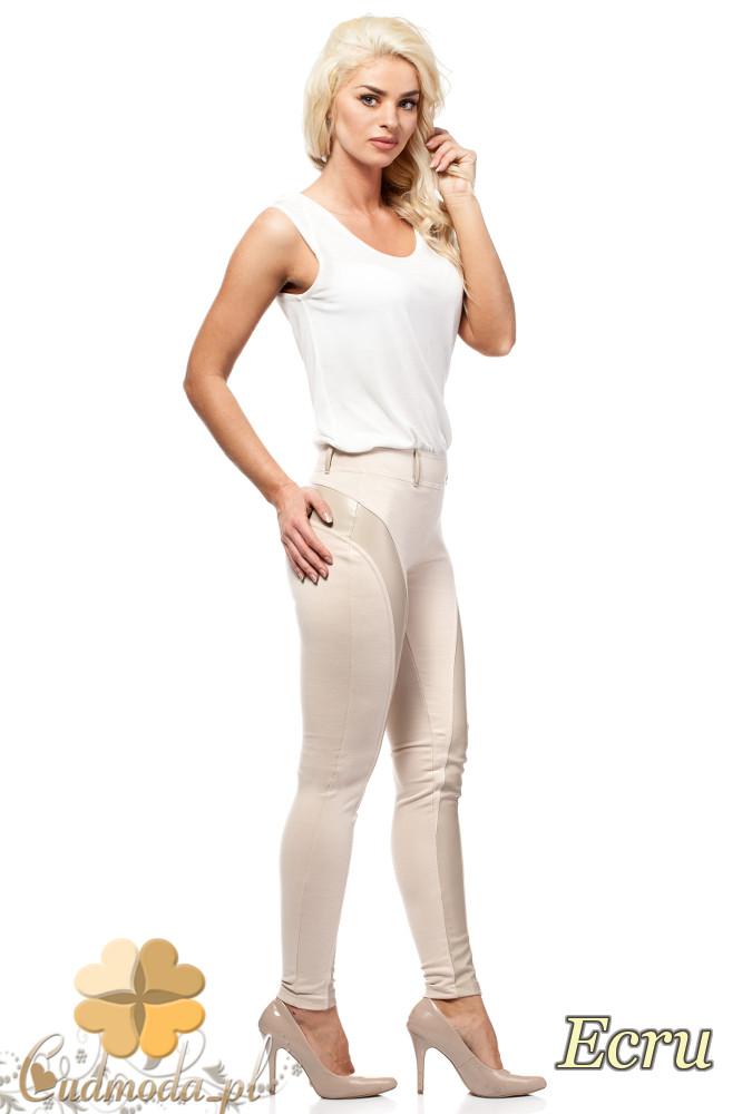CM1010 Legginsy spodnie z niskim stanem i skórzanym pasem na nogawce - ecru