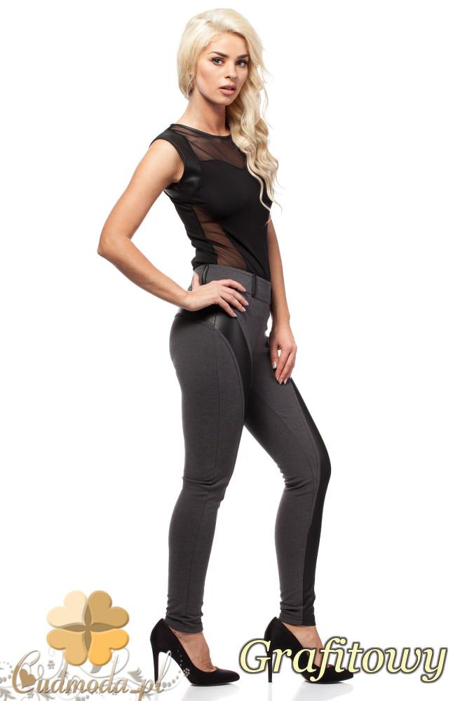 CM1010 Legginsy spodnie z niskim stanem i skórzanym pasem na nogawce - grafitowe