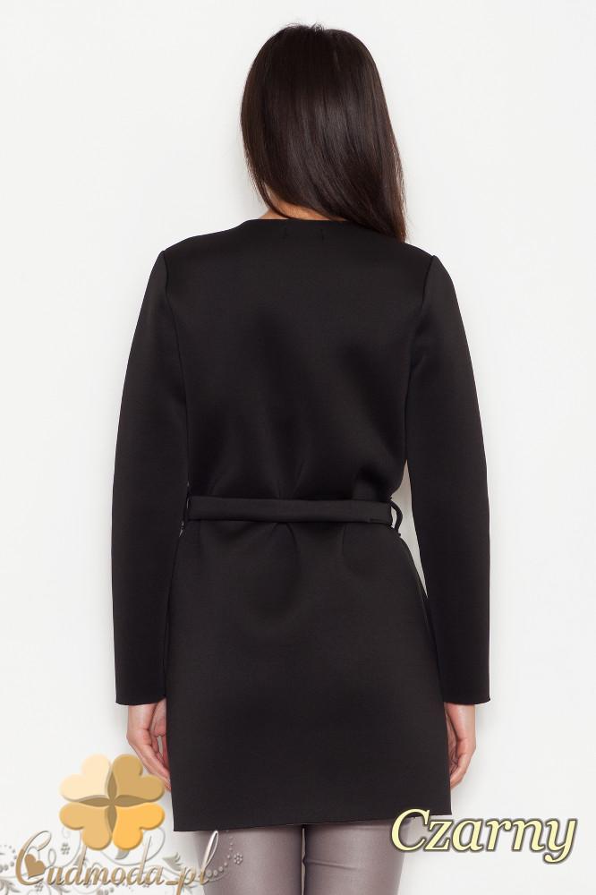 CM1610 Piankowy płaszczyk z długim rękawem - czarny
