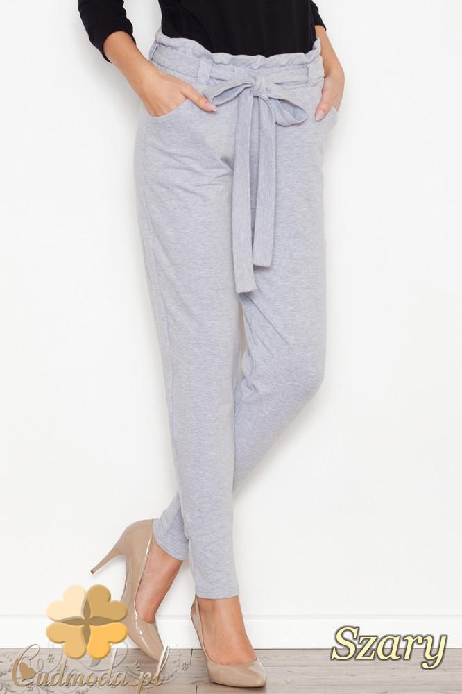 CM1613 Bawełniane spodnie dresowe z kokardą - szare