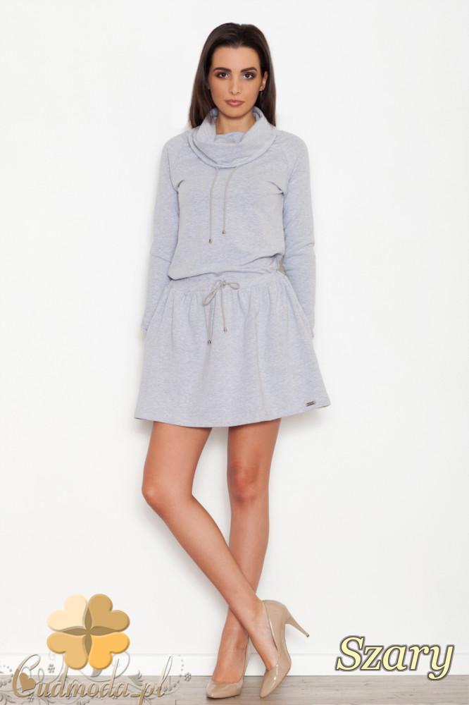 CM1615 Bawełniana sukienka-tunika sportowa - szara