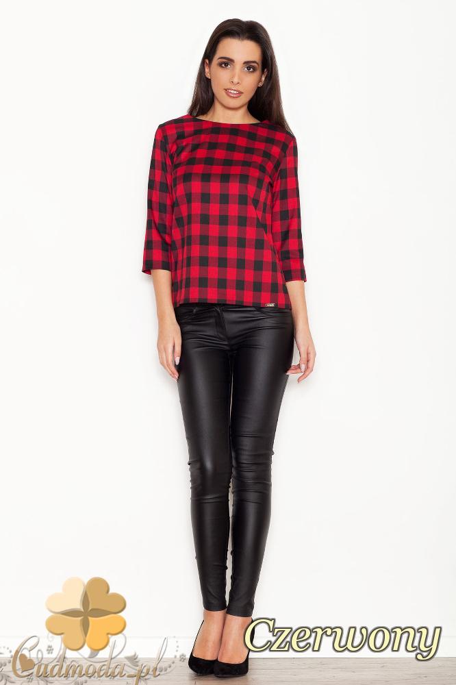 CM1616 Modna bluzka damska w kratę - czerwona