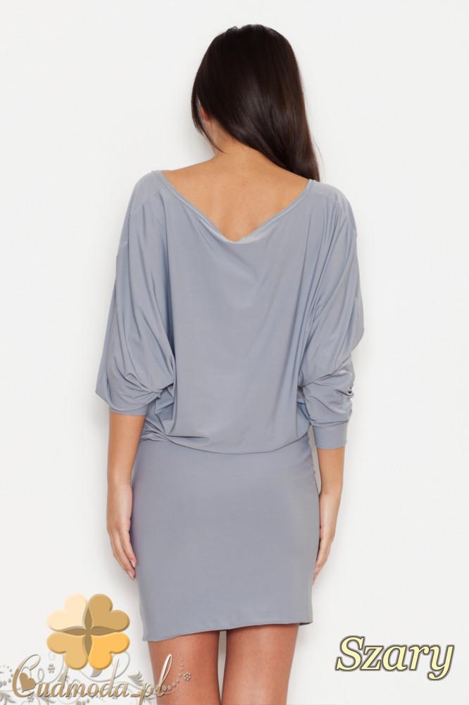 CM1617 Dopasowana sukienka odcinana w talii z dużym dekoltem - szara